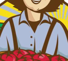 Farmer Boy Straw Hat Tomato Harvest Sticker