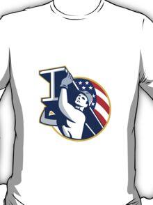Construction Steel Worker I-Beam American Flag T-Shirt