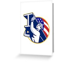 Construction Steel Worker I-Beam American Flag Greeting Card