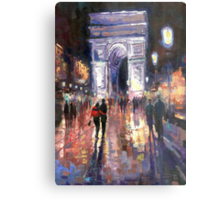 Paris Miting Point Arc de Triomphie Metal Print