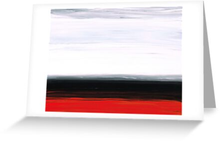 White Horizon - Abstract Red And Black Landscape Art by Sharon Cummings