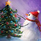 Cute Snowman Decorates Xmas Tree Folk Art Painting by Leah McNeir