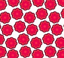 Red flowers on snow by CatchyLittleArt