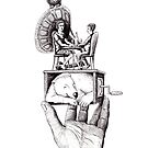 Balance of Love surreal pen ink black and white drawing by Vitaliy Gonikman