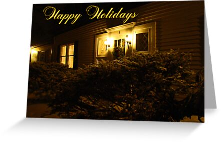 Happy Holidays Greeting - Snowy House With Lovely Light by MotherNature