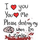 Love in the time of zombies with blood.  by twisteddoodles