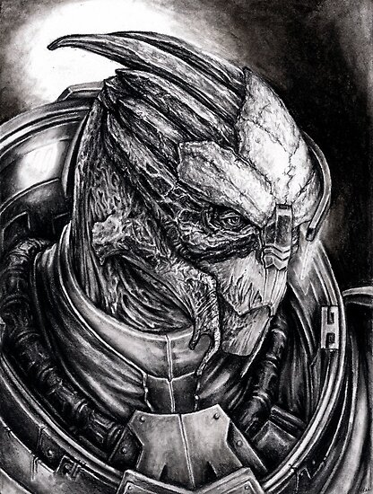 Garrus Portrait in Charcoal - Print by efleck