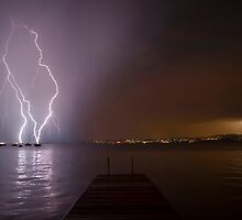 Lightning over Lake Garda by Hvistendal Photography