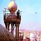 a muezzin calling from the top of a minaret the faithful to prayer by Adam Asar