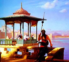 Harem in the Kiosk The Guardian of the Seraglio 1870 by Adam Asar