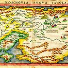 1574 Ruscelli Map of Russia (Muscovy) and Ukraine Geographicus Moschovia porcacchi 1572 by Adam Asar
