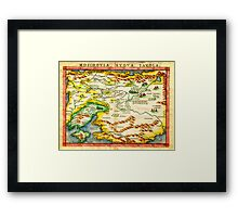 1574 Ruscelli Map of Russia (Muscovy) and Ukraine Geographicus Moschovia porcacchi 1572 Framed Print
