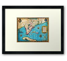 1591 De Bry and Le Moyne Map of Florida and Cuba Geographicus Florida debry 1591 Framed Print