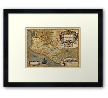 1606 Hondius_and Mercator Map of Mexico Geographicus HispaniaeNovaMexico mercator 1606 Framed Print