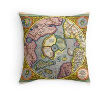 1606 Mercator Hondius Map of the Arctic First Map of the North Pole Geographicus NorthPole mercator 1606 Throw Pillow