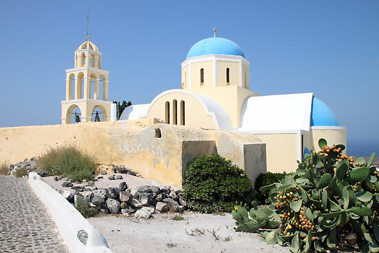 Church on a Bright Afternoon, Oia, Santorini by Carole-Anne