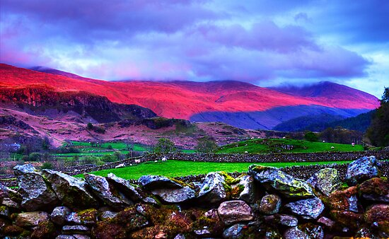 The colours of the Lake District at sunset, Keswick, UK by Elana Bailey