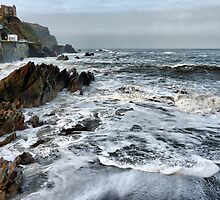 Rough Seas at Illfracombe. by Lilian Marshall