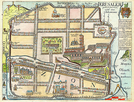 1650 Fuller Map of Jerusalem Israel Palestine  Holy Land Geographicus jerusalem fuller 1650 by Adam Asar