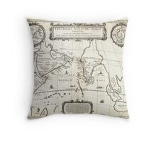 1658 Jansson Map of the Indian Ocean Erythrean Sea in Antiquity Geographicus ErythraeanSea jansson 1658 Throw Pillow