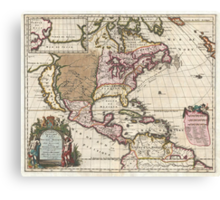 1698 Louis Hennepin Map of North America Geographicus NorthAmerica hennepin 1698 Canvas Print