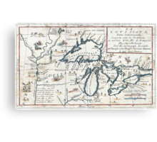 1696 Coronelli Map of the Great Lakes (Most Accurate Map of the Great Lakes in the 17th Century) Geographicus LaLouisiana coronelli 1695 Canvas Print