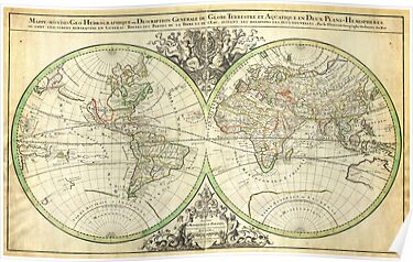 1691 Sanson Map of the World on Hemisphere Projection Geographicus World2 sanson 1691 by Adam Asar