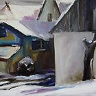 Barnstable With Blue Shutters In Winter by Barbara Pommerenke