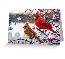 cardinals birds winter cardinals Greeting Card