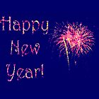 Fireworks Happy New Year's card or invite by Mariannne Campolongo