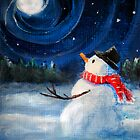 Snowman Gazes at Night Sky &amp; Moon - Folk Painting by Leah McNeir