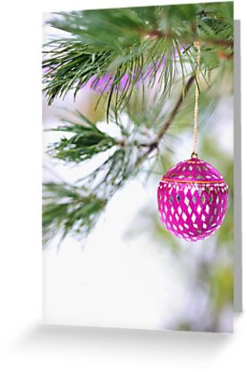 Christmas ornament on a snowy pine tree branch by Mariannne Campolongo