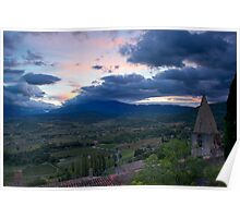 Sunrise over Mount Ventoux from the village of Crestet, France Poster