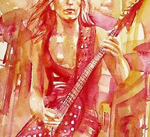 RANDY RHOADS PLAYING the GUITAR watercolor portrait by lautir