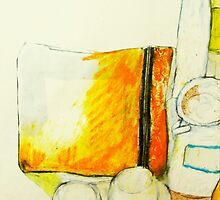 still life with yellow pencil case by donnamalone