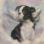 Boston Terrier Angel by SurfCityArt
