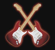 Double Red american fender Stratocaster T shirt by goodmusic