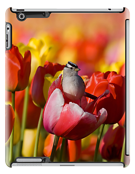 Sparrow in the Tulips - iPad Case by SynappedPhoto