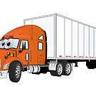 Semi Truck Orange White Trailer by Graphxpro