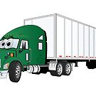 Semi Truck Green White Trailer by Graphxpro