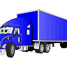Semi Truck Blue Trailer Cartoon by Graphxpro