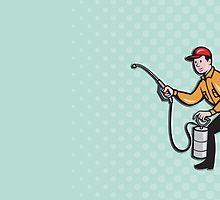 Pest Control Exterminator Worker Spraying Cartoon by patrimonio