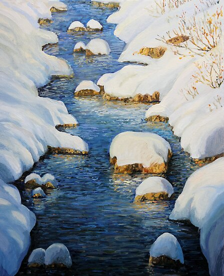 Snowy Fairytale River by kirilart