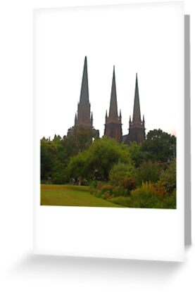 St Patricks Cathedral, view from Parliament House Gardens Melbourne by Margaret Morgan (Watkins)