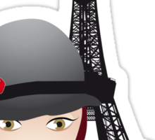 Vintage poster with beautiful girl in paris Sticker