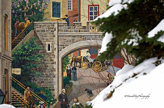 Mural Fresco - Old Quebec City by Yannik Hay