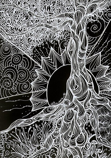 Tree of Life Zentangle in negative by MysticDragonfly
