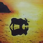 Moose in the Sunset   SOLD by Debbie Hetzel/Piro