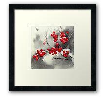 Red Berries,White Snow Framed Print