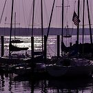 Purple sunrise Connecticut sailboat masts in silhouette by campyphotos